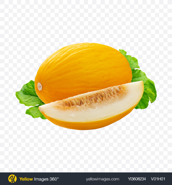 Download Yellow Melon w/ Leaves Transparent PNG on YELLOW Images