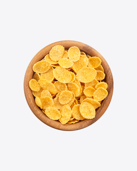 Cornflakes in Wooden Bowl