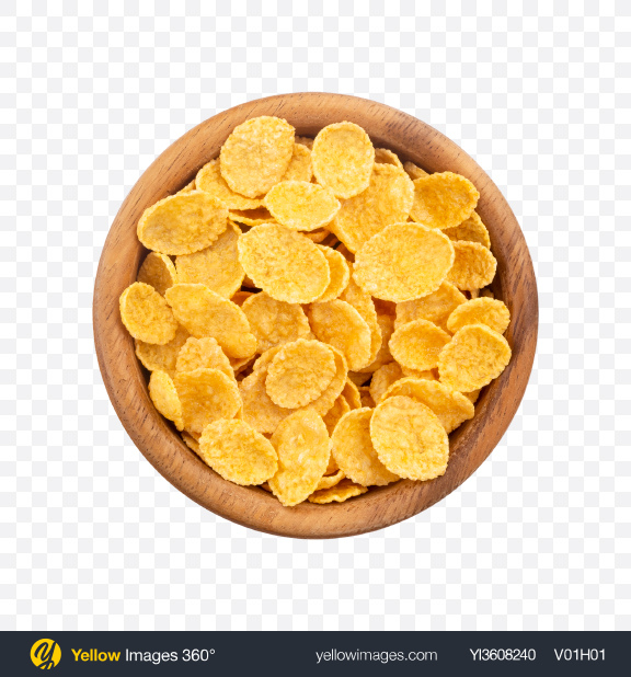 Download Cornflakes in Wooden Bowl Transparent PNG on YELLOW Images