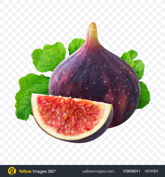 Download Fig Fruits w/ Leaf Transparent PNG on YELLOW Images