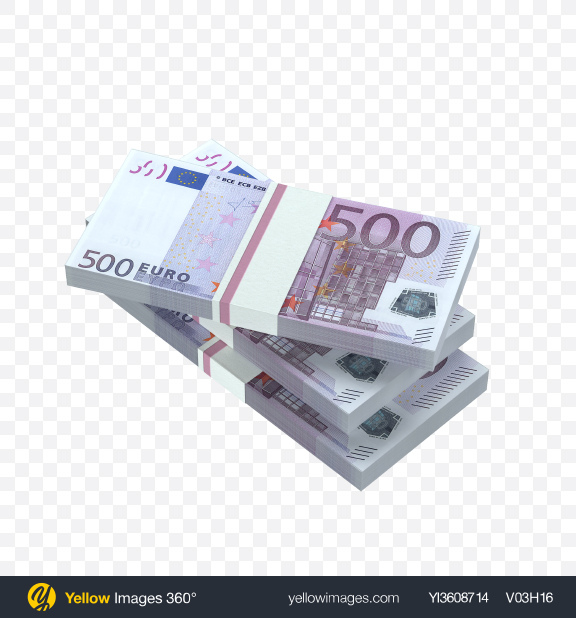 Download Stacks of 500 Euro Banknotes Transparent PNG on YELLOW Images