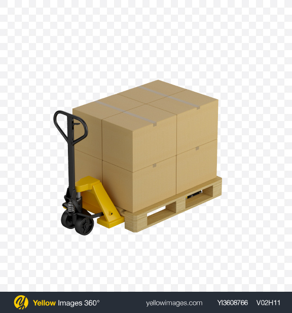 Download Hand Pallet Truck with Boxes Transparent PNG on PNG Images