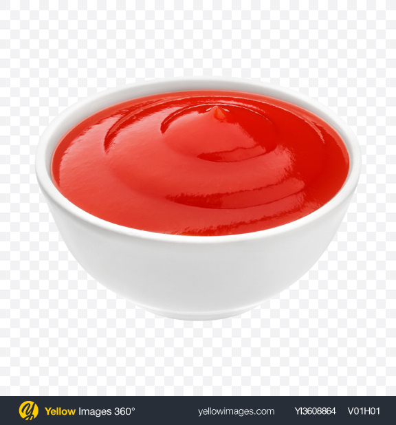 Download Ketchup in Ceramic Bowl Transparent PNG on YELLOW Images