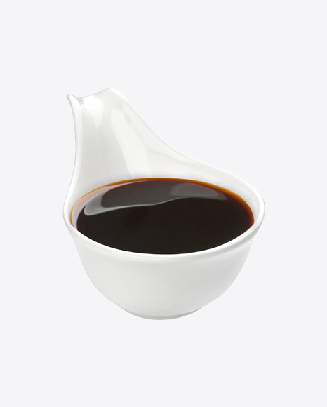Soy Sauce in White Ceramic Spoon