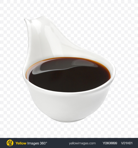 Download Soy Sauce in White Ceramic Spoon Transparent PNG on YELLOW Images