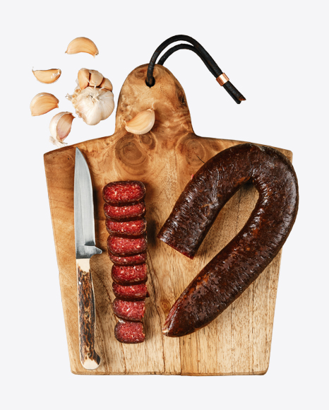 Smoked Beef Sausage on Cutting Board