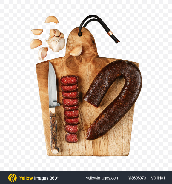Download Smoked Beef Sausage on Cutting Board Transparent PNG on YELLOW Images