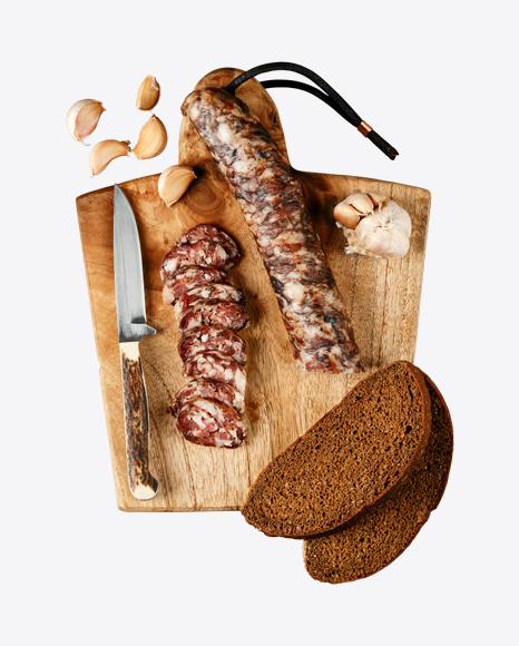 Smoked Pork Sausage on Wooden Cutting Board