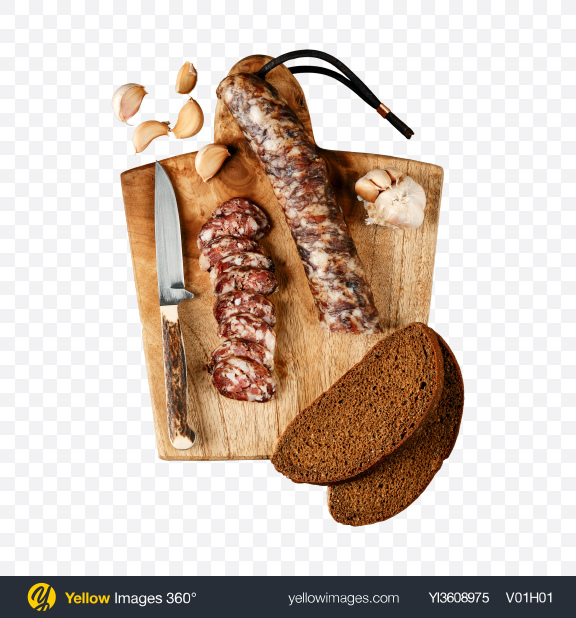 Download Smoked Pork Sausage on Wooden Cutting Board Transparent PNG on YELLOW Images