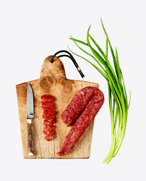 Dried Turkey Sausage on Wooden Cutting Board
