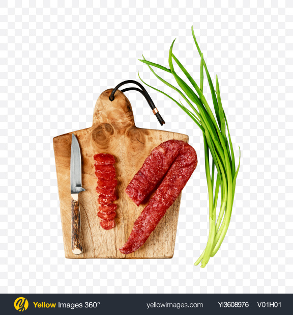 Download Dried Turkey Sausage on Wooden Cutting Board Transparent PNG on YELLOW Images