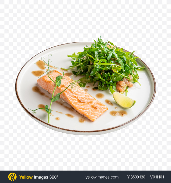 Download Salmon w/ Ruccola Salad Transparent PNG on YELLOW Images