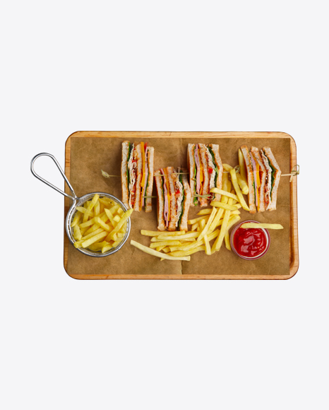 Club Sandwiches w/ French Fries & Ketchup