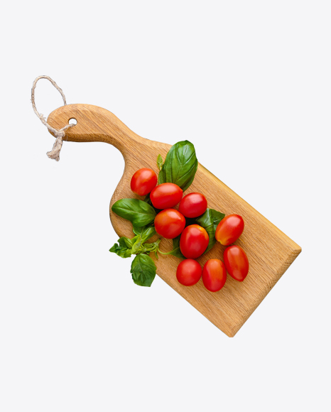 Cherry Tomatoes w/ Basil on Wooden Board