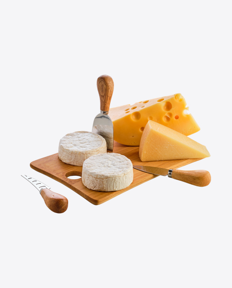 Cheese Set on Wooden Board