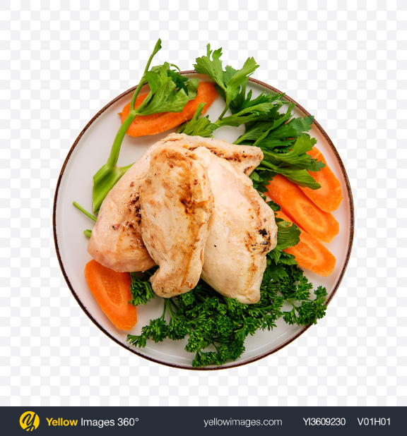 Download Fried Chicken Fillet w/ Vegetables Transparent PNG on YELLOW Images