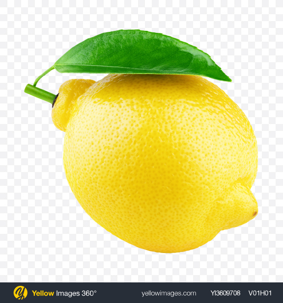 Download Lemon with Leaf Transparent PNG on YELLOW Images