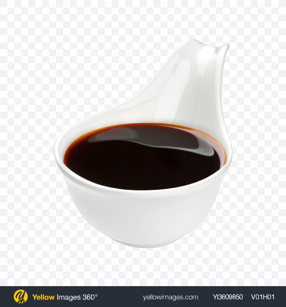 Download Soy Sauce in Ceramic Spoon Transparent PNG on YELLOW Images