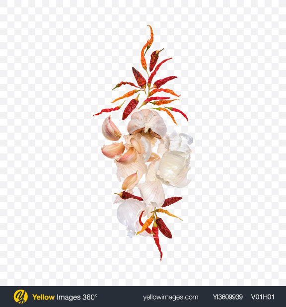Download Garlic & Dried Chili Pepper Set Transparent PNG on YELLOW Images