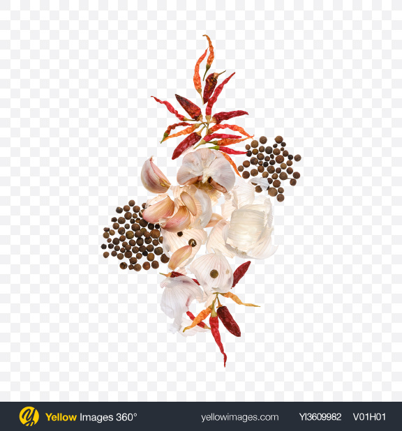 Download Garlic & Dried Chili Pepper and Black Pepper Set Transparent PNG on YELLOW Images