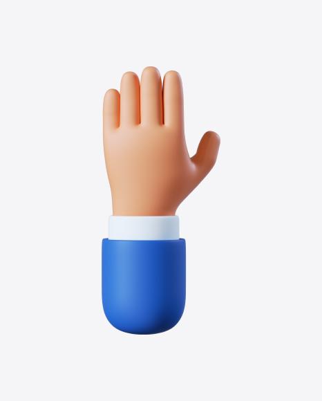 Cartoon Hand Five Gesture