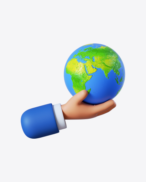 Cartoon Hand Holding Globe