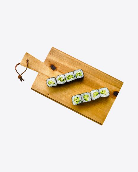 Avocado Maki on Wooden Cutting Board