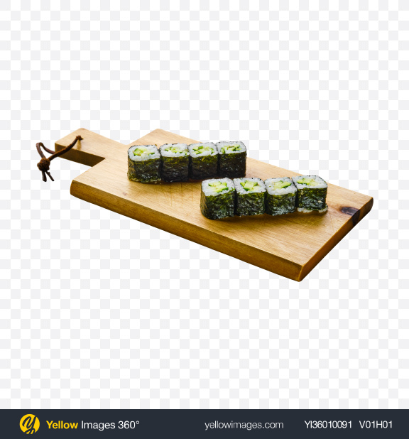 Download Avocado Maki on Wooden Cutting Board Transparent PNG on YELLOW Images