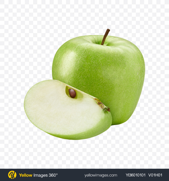 Download Green Apple w/ Slice Transparent PNG on YELLOW Images