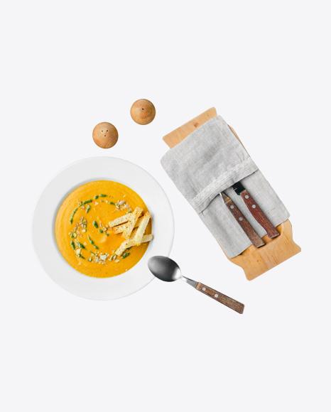 Pumpkin Cream Soup w/ Tableware