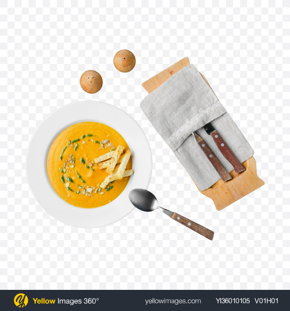 Download Pumpkin Cream Soup w/ Tableware Transparent PNG on YELLOW Images