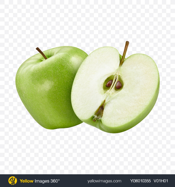 Download Green Apple w/ Half Transparent PNG on YELLOW Images