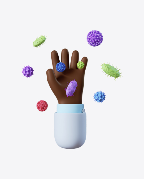 Doctor Hand with Bacteria
