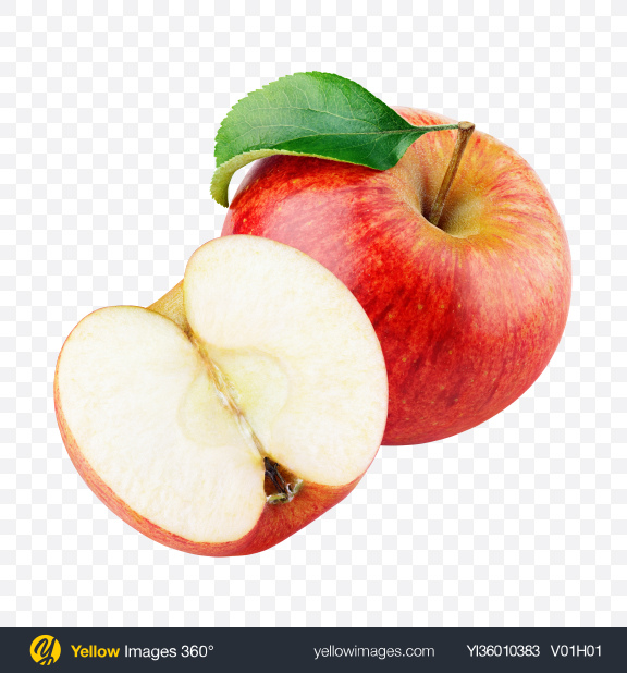 Download Red Apple with Half Transparent PNG on YELLOW Images