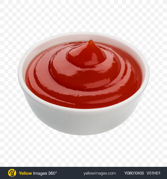 Download Ketchup Sauce in Ceramic Bowl Transparent PNG on YELLOW Images