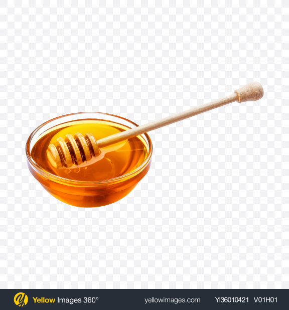 Download Honey Bowl w/ Wooden Dipper Transparent PNG on YELLOW Images