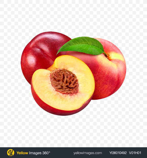 Download Two Nectarines & Half Transparent PNG on YELLOW Images
