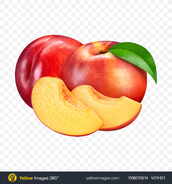Download Two Nectarines & Slices Transparent PNG on YELLOW Images