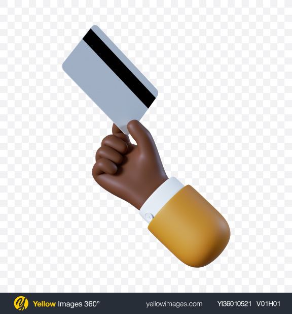 Download Cartoon Hand Holding Credit Card Transparent PNG on YELLOW Images