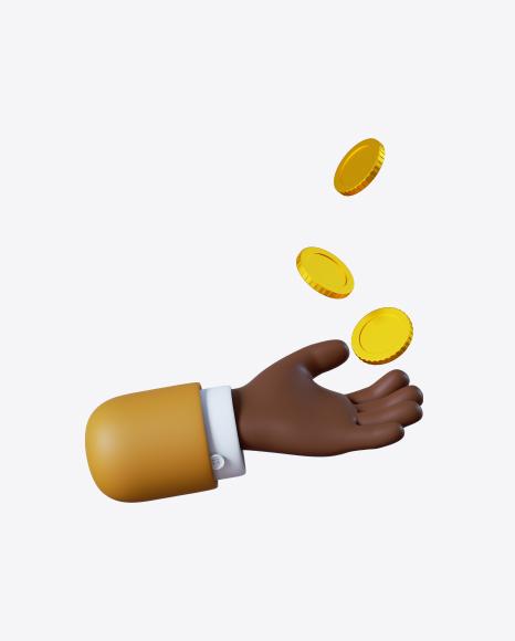 Cartoon Hand with Coins