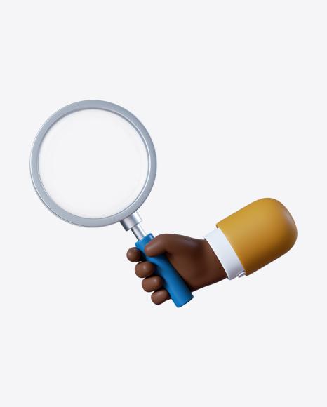 Cartoon Hand Holding Magnifier