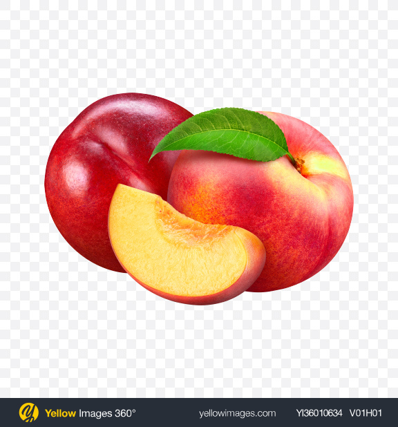Download Two Nectarines & Slice Transparent PNG on YELLOW Images