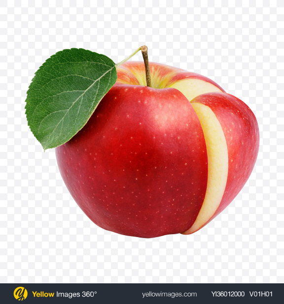 Download Red Apple with Cut Transparent PNG on YELLOW Images