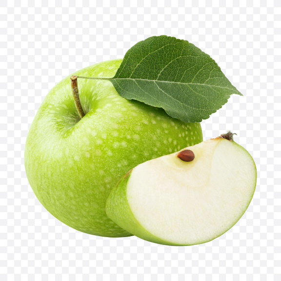 Download Green Apple with Slice Transparent PNG on YELLOW Images