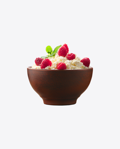Cottage Cheese W/ Raspberries in Woodel Bowl
