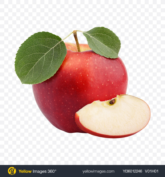 Download Red Apple with Slice Transparent PNG on YELLOW Images