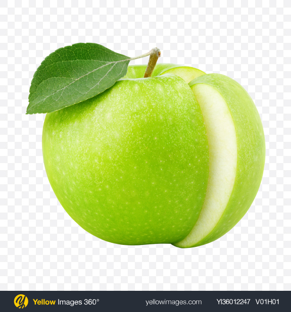 Download Green Apple with Cut Transparent PNG on YELLOW Images