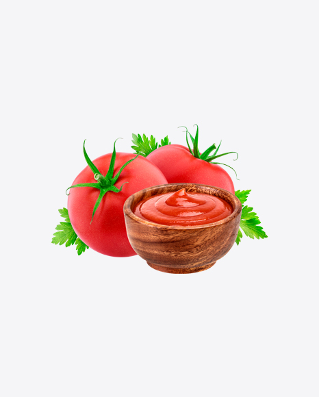 Tomatoes w/ Ketchup in Wooden Bowl