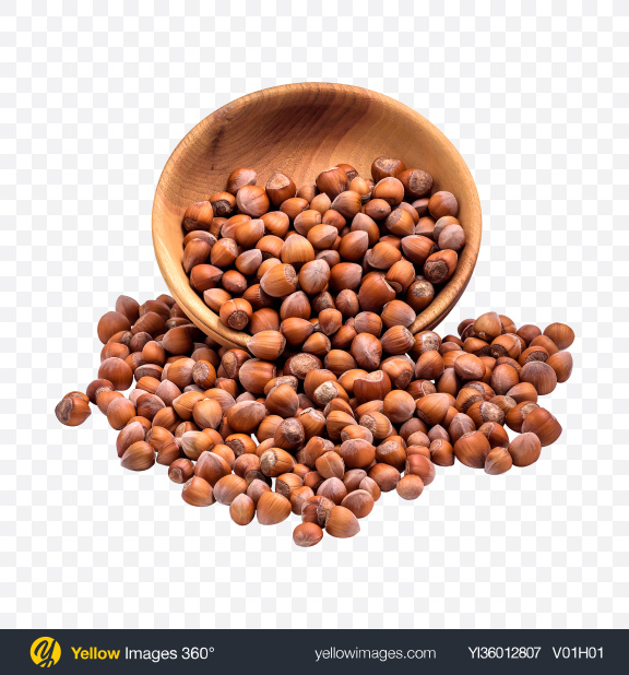 Download Hazelnuts in Wooden Bowl Transparent PNG on YELLOW Images