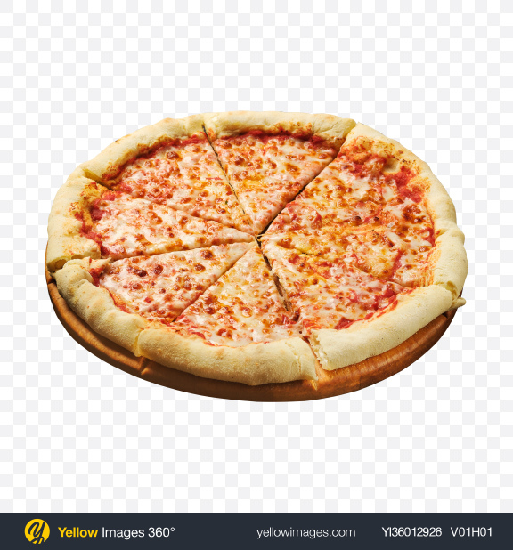 Download Margarita Pizza on Wooden Board Transparent PNG on YELLOW Images